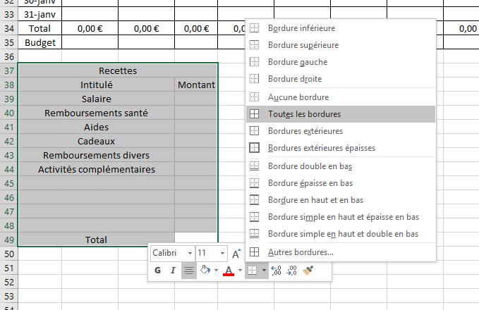 tracer bordures excel