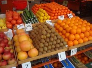étal fruits légumes