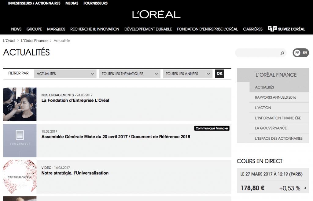 L'oréal site web