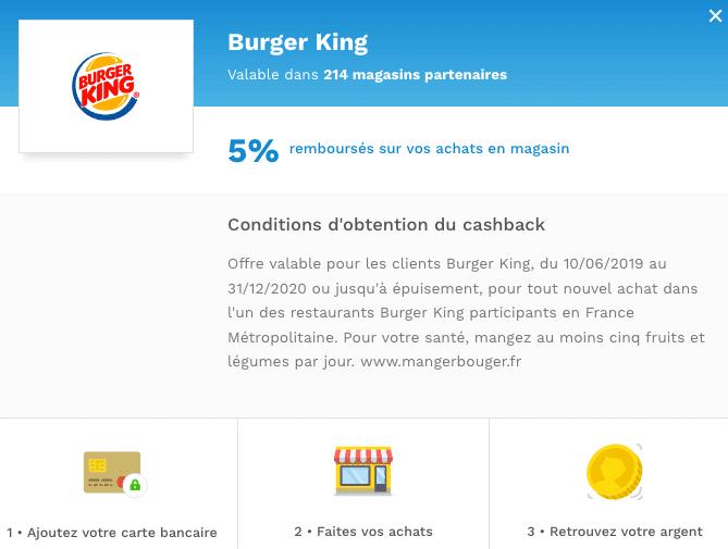 cashback burgerking poulpeo